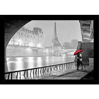 Eiffel Tower Kiss Print with Traditional Black Frame (36 x 24)