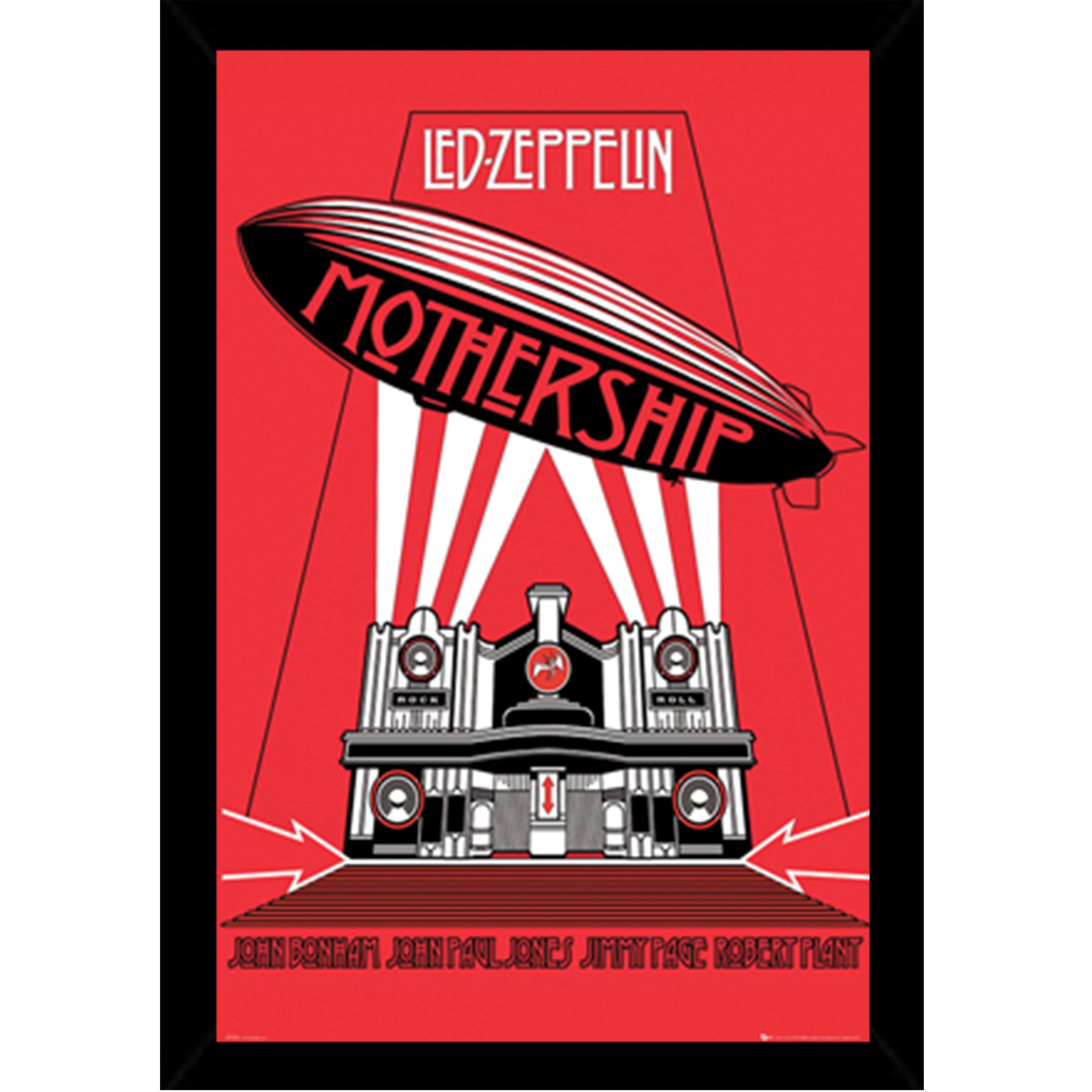 LED Zeppelin-nave nodriza impresión con marco negro tradicional (24 ...