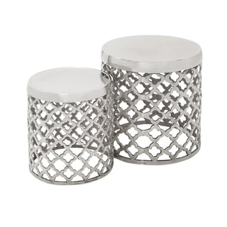 Casa Cortes Aluminum Round Drum Stool - Set of 2