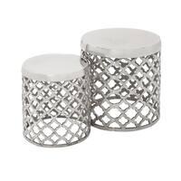 Casa Cortes Aluminum Round Drum Stool - Set of 2