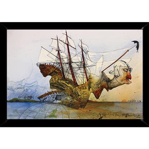 Ralph Steadman - Curse of Lono Print with Traditional Black Frame (24 x 36)