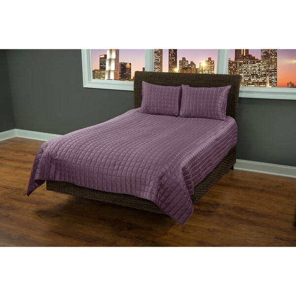 Rizzy Home Satinology Purple 3-piece Quilt Set