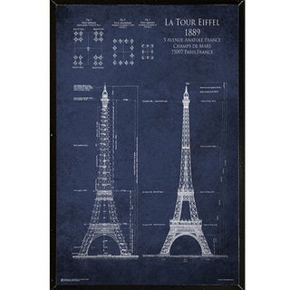 Eiffel Tower Blueprint Wall Plaque (24 x 30)