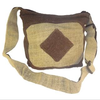 Handmade Hemp Over the Shoulder Bag with Zipper (Nepal)