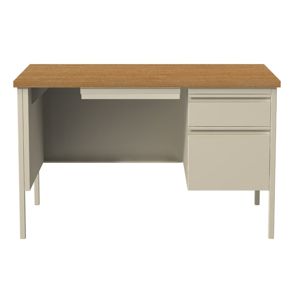 30 X 48 Inch Tan Steel Right Single Pedestal Desk Free