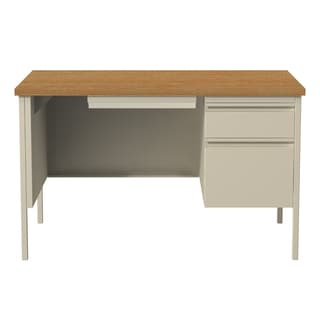 Delicieux Hirsh 30 X 48 Right Hand Single Pedestal Office Desk, Putty/Oak