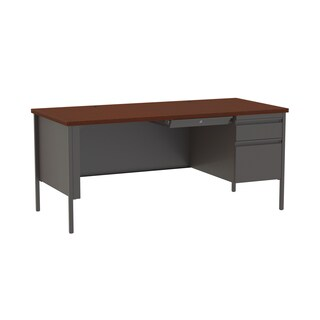 30 x 66-inch Charcoal/Mahogany Steel Right Single Pedestal Desk