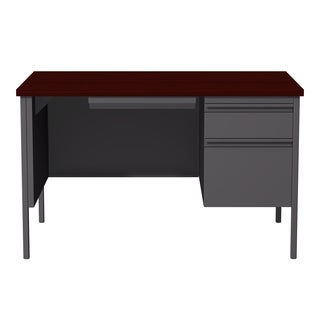 30 x 48-inch Charcoal/Mahogany Steel Right Single Pedestal Desk