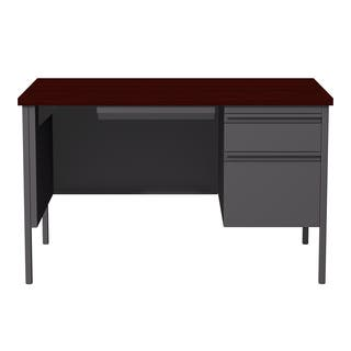 30 x 48-inch Charcoal/Mahogany Steel Right Single Pedestal Desk|https://ak1.ostkcdn.com/images/products/10810166/P17855438.jpg?impolicy=medium