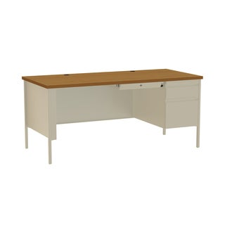30 x 66-inch Putty/Oak Steel Right Single Pedestal Desk