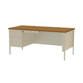 30 x 66-inch Putty/Oak Steel Left Single Pedestal Desk