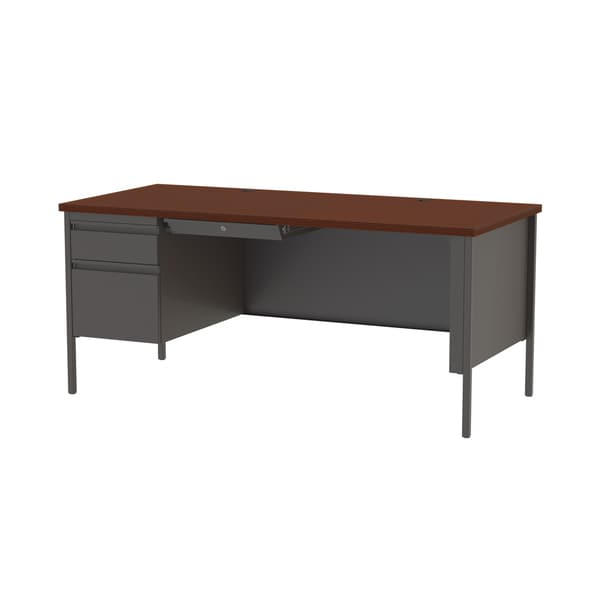 Hirsh 30 X 66 Left Hand Single Pedestal Office Desk Charcoal Mahogany Free Shipping Today 10810172