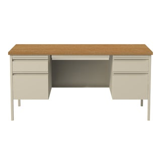 30 x 60-inch Putty/Oak Steel Double Pedestal Desk