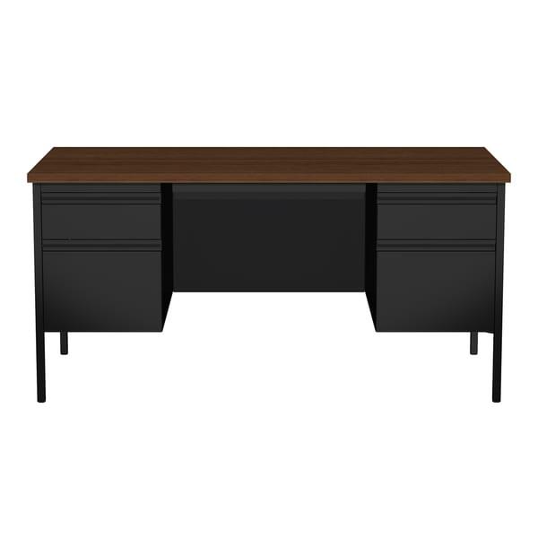 30 X 60 Inch Black Walnut Steel Double Pedestal Desk