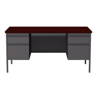 30 x 60-inch Charcoal/Mahogany Steel Double Pedestal Desk