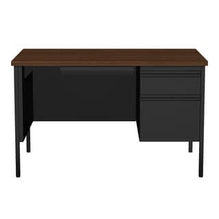 30 x 48-inch Black/Walnut Steel Right Single Pedestal Desk