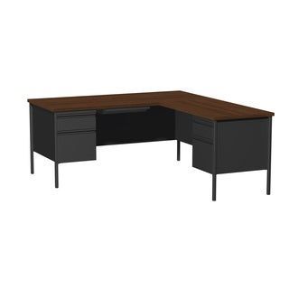 66 x 72-inch Black Steel Pedestal Desk with Right Return