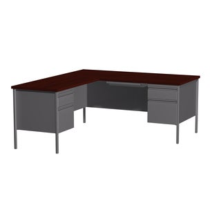 66 x 72-inch Charcoal/Mahogany Steel Pedestal Desk with Left Return