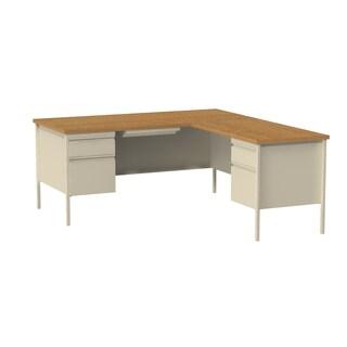 66 x 72-inch Putty/Oak Steel Pedestal Desk with Right Return