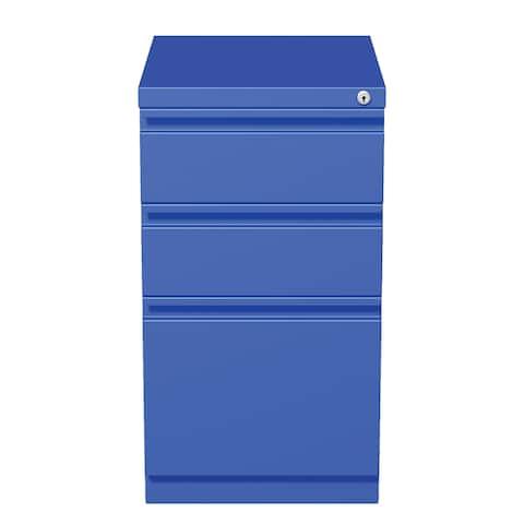 Hirsh 20-inch Commercial Mobile Pedestal Blue 3-Drawer File Cabinet