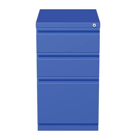 """Hirsh 20"""" D Commercial Mobile Pedestal 3-Drawer File Cabinet, Blue"""