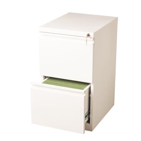 "Hirsh 20"" D Commercial Mobile Pedestal 2-Drawer File Cabinet, White"