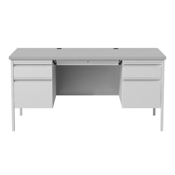 Hirsh 30 X 60 Double Pedestal Office Desk Gray