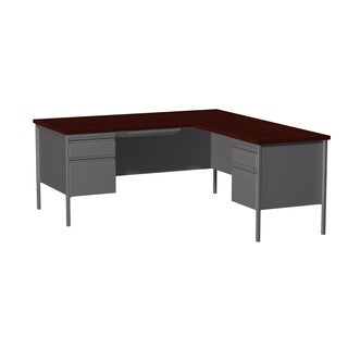 66x72-inch Charcoal/Mahogany Steel Pedestal Desk with Right Return