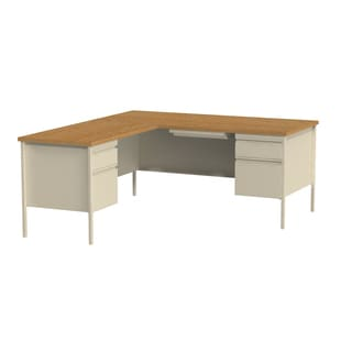 66 x 72-inch Putty/Oak Steel Pedestal Desk with Left Return