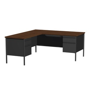66 x 72-inch Black Steel Pedestal Desk with Left Return