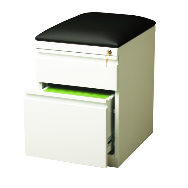 20-inch White Moblie Pedestal with Seat Cushion Box/ File