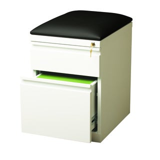 "Hirsh 20"" D Mobile Pedestal Box File Cabinet with Seat Cushion,White"