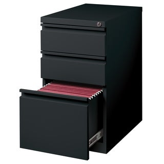 23-inch Black Moblie Pedestal Box/ Box/ File with Full Width Pulls