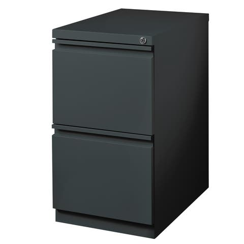 "Hirsh 20"" D Commercial Mobile Pedestal 2-Drawer File Cabinet, Charcoal"