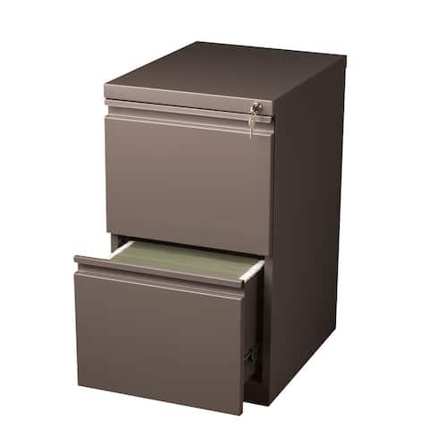"""Hirsh 20"""" D Commercial Mobile Pedestal 2-Drawer File Cabinet, Med Tone"""