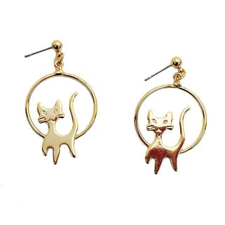 Detti Original Handmade Goldplated Cat Hoop Earrings