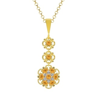 Lucia Costin Sterling Silver Yellow Crystal Pendant