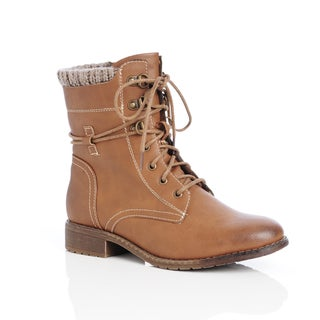 Unsensored Women's Cable Sweater Collar Lace Up Combat Boot