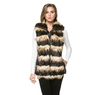 High Secret Women's Faux Fur Striped Vest