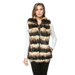 High Secret Women's Faux Fur Striped Vest (2 options available)