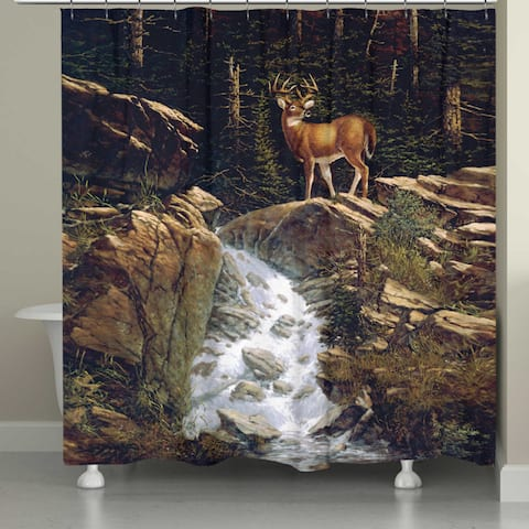 Laural Home Deer Above the Falls Shower Curtain 72x72