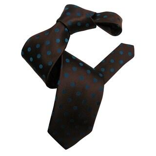 Dmitry Men's Brown with Navy Polka Dot Patterned Italian Silk Tie