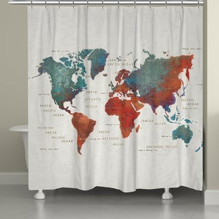 Laural Home Colorful Map Shower Curtain 72x72