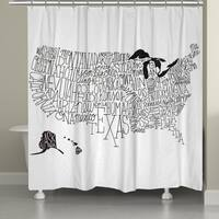 Laural Home White and Black Lettered Map 71 x 72-inch Shower Curtain