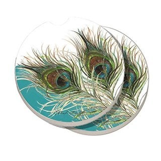 CounterArt Elegant Peacock Absorbent Stone Car Coasters (Set of 2)