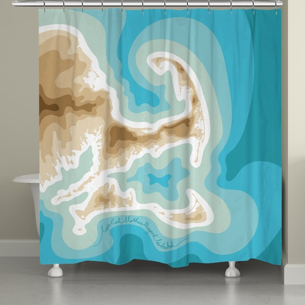 Laural Home Cape Cod Islands Topographic Abstract Map Shower Curtain 71x74