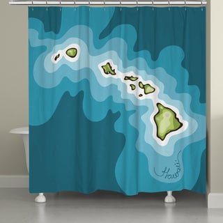 Laural Home Hawaii Topographic Abstract Map Shower Curtain 71x74