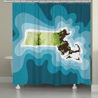 Laural Home Massachusetts Topographic Abstract Map Shower Curtain 71x74