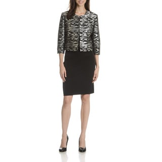 Danillo Women's Metallic Silver Abstract Print 2-Piece Skirt Suit