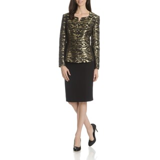 Danillo Women's Metallic Abstract Print 2-Piece Skirt Suit